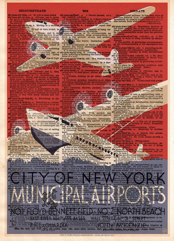 New York wall art print, WPA poster, retro 1930's wall art, dictionary page art print -  - 1