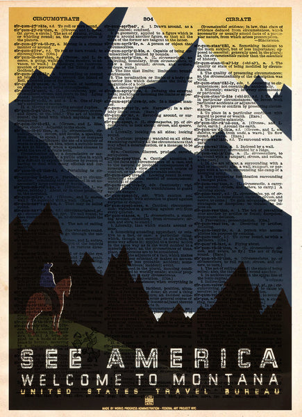 WPA national park poster, Montana wall art, vintage sign, art deco vintage wall decor, dictionary page print -  - 1