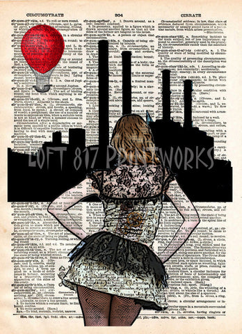Steampunk art, girl with red balloon, sexy stockings, retro vintage dictionary page art print -  - 1