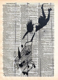 Banksy, falling woman, Trolley, Banksy wall art, vintage dictionary art -  - 1