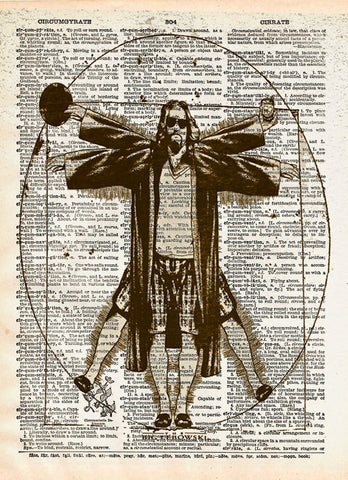 Big Lebowski art, Vitruvian Dude, The Dude art print, Dictionary print art -  - 1