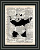 Banksy Panda with guns print, Panda bear art,Banksy wall art, vintage dictionary art -  - 2
