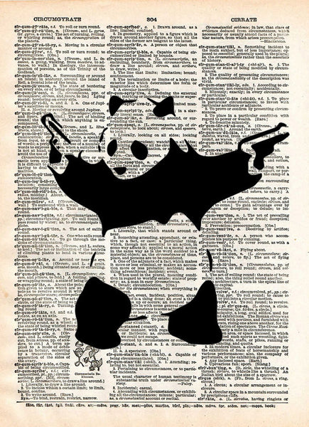 Banksy Panda with guns print, Panda bear art,Banksy wall art, vintage dictionary art -  - 1
