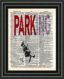 Banksy wall art, Parking, girl on swing, dictionary art print -  - 2