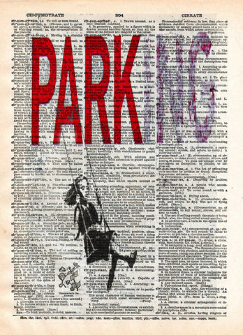 Banksy wall art, Parking, girl on swing, dictionary art print -  - 1