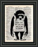 Banksy wall art, Laugh now, monkey print,  dictionary art print -  - 2