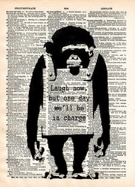 Banksy wall art, Laugh now, monkey print,  dictionary art print -  - 1