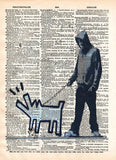 Banksy Man walking dog, Bankys art print, dictionary art -  - 1