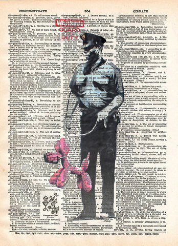 Banksy security guard print, Banksy art balloon dog, book page art -  - 1
