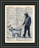 Banksy Man walking dog, Bankys art print, dictionary art -  - 2