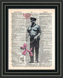 Banksy security guard print, Banksy art balloon dog, book page art -  - 2