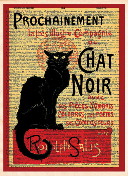 Le Chat Noir, black cat, french cabaret poster, dictionary page art print -  - 1