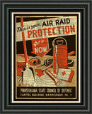 WPA poster Air Raid, vintage sign, art deco vintage wall decor, dictionary page print -  - 2