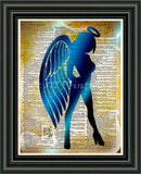 Sexy Angel art print, Seraphim wall art, Dictionary page art -  - 2
