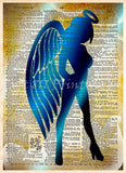 Sexy Angel art print, Seraphim wall art, Dictionary page art -  - 1
