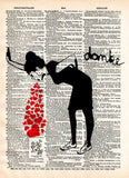 Lovesick Banksy art print, Love sick print, girl with hearts,  dictionary art print -  - 1