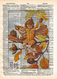 Vintage Flower Fairy art, Beech Nut Fairy, Autumn art print, Dictionary print art -  - 1
