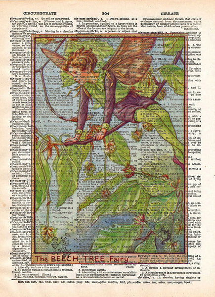 Vintage Flower Fairy art, Beech Tree Flower Fairy, Fairy art print, Dictionary print art -  - 1