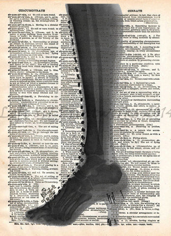 High heel Xray art, vintage medical xray, medical oddities, dictionary art -  - 1