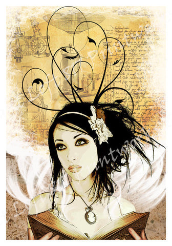 Steampunk Pinup girl, pinup girl poster, book of dreams, steampunk girl with Book, book page art -  - 1