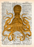 Octopus wall art, vintage octopus drawing, dictionary print, book page art -  - 1
