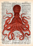 Octopus wall art, vintage octopus drawing, dictionary print, book page art -  - 7