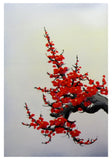Cherry blossom wall art, Japan cherry blossom art, red cherry blossom painting -  - 2
