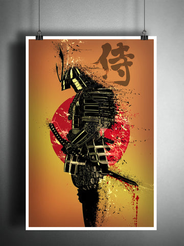 Samurai warrior art, samurai splatter art, Japanese ink painting,