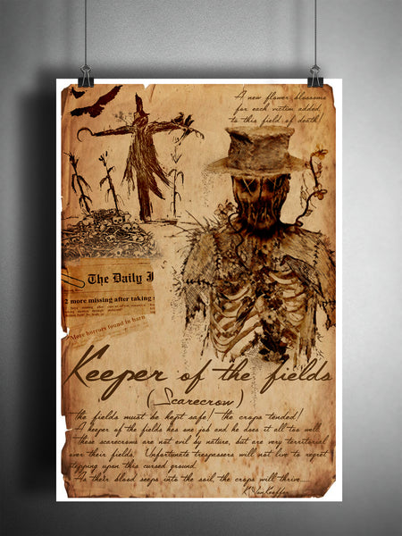 Scarecrow cryptid art, urban legend bestiary, science journal art, monsters and folklore, haunted heartland