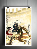 Scissores gladiator art, roman coliseum artwork, ancient warrior, splatter art