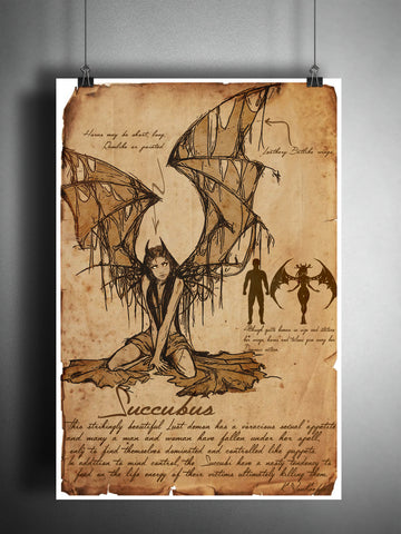 Succubus sexy devil girl cryptid art, bestiary cryptozoology science journal art, monsters and folklore