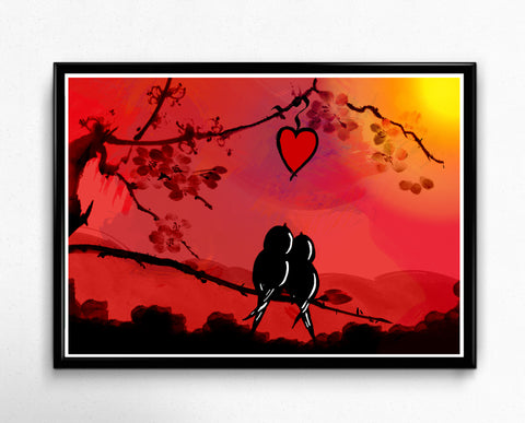 Two birds on a branch with heart, love birds watching sunset watercolor art print
