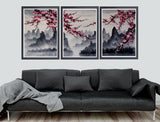 Cherry blossom art print, cherry blossom wall mural, cherry blossom japanese art set -  - 1