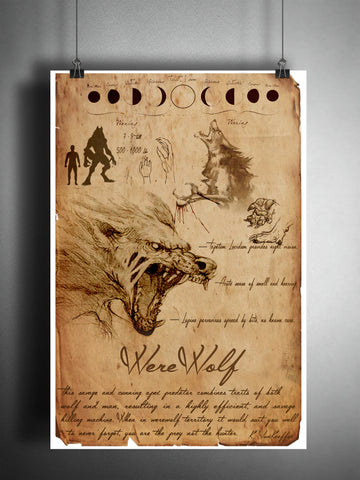 Werewolf cryptid art, urban legend bestiary cryptozoology science journal art, monsters and folklore,