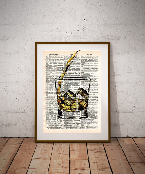 Whiskey splash art, pour yourself some whiskey, man cave art, bourbon splash art -  - 1