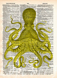 Octopus wall art, vintage octopus drawing, dictionary print, book page art -  - 8