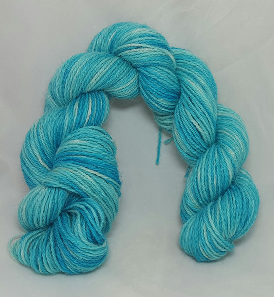 Icy Blue, 100% Alpaca, 3 ply fingering