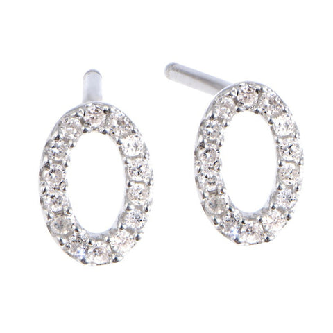 Adina Reyter Super Tiny Pave Oval Silver Earrings