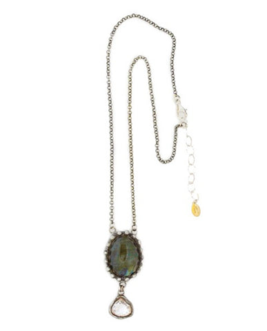 Elizabeth Cole Crystal and Chain Necklace