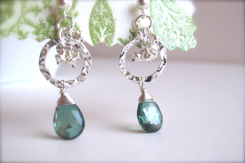 Green Mystic Topaz Earrings with Hammered Round Disk - Sterling Silver