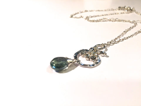 Green Mystic Topaz Necklace with Hammered Round Disk - Sterling Silver