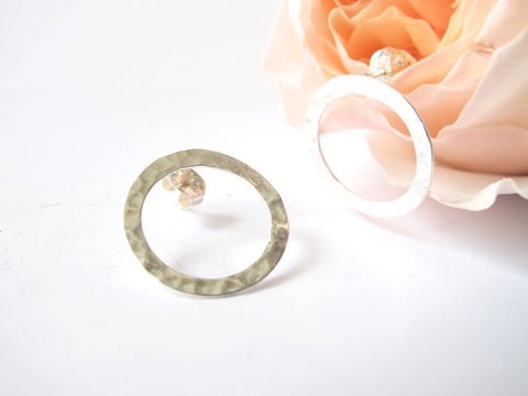 Hammered Circle Sterling Post Earrings