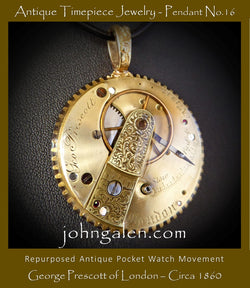 Steampunk Necklace Pendant No.16 - 1860's George Prescott, London  - FREE SHIPPING