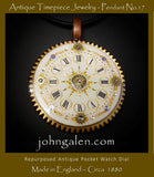 Steampunk Necklace Pendant No.17 - 1880's English Pocket Watch Dial  - FREE SHIPPING