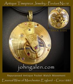 Antique Timepiece Necklace Pendant No.18 - 1880's Emanual Wise of Manchester - FREE SHIPPING