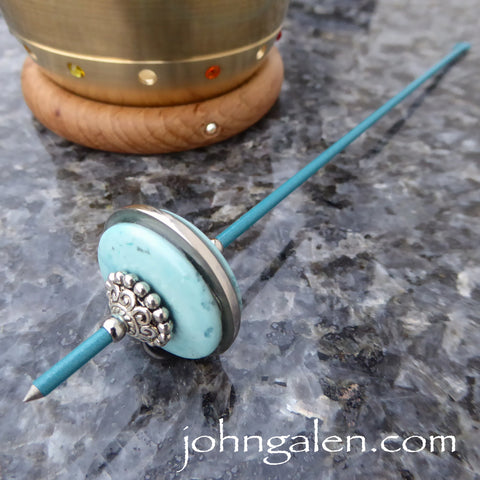 Tahkli Support Spindle No.624 - Teal and Turquoise - FREE SHIPPING