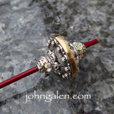 Tahkli Support Spindle No.630 - Western Style Silver and Crystals - Choice of Shaft Color - FREE SHIPPING