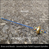 Tahkli Support Spindle No.632-637 - Brass, Beads, and Crystals - FREE SHIPPING