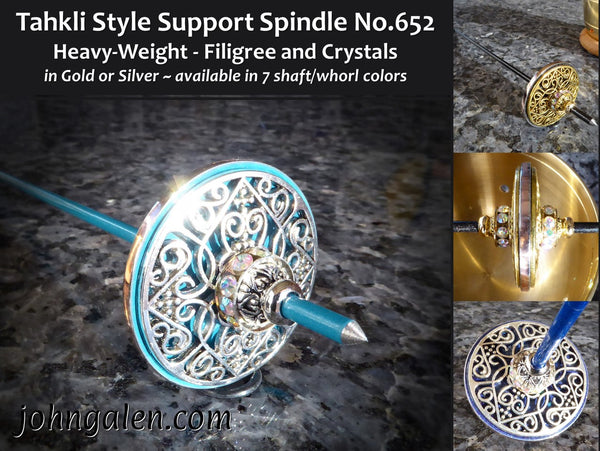 Tahkli Style Support Spindle No.652 - Heavy Weight Gold or Silver - 7 Shaft/Whorl Colors - FREE SHIPPING