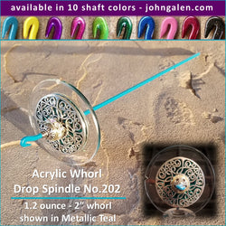 Acrylic Whorl Drop Spindle No.202 - Choose from 10 Shaft Colors - Free Shipping (US)